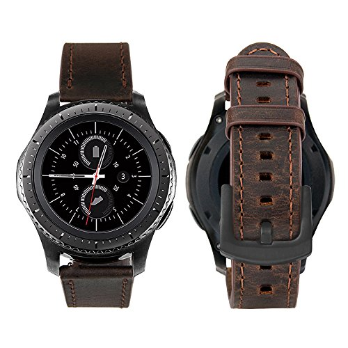 iBazal 20mm Cinturino Pelle Rilascio Rapido Cinturini Cuoio Bracciale Compatibile con Samsung Galaxy Watch 42mm/Active 40mm/Gear Sport/Gear S2 Classic/Huawei Watch 2/Ticwatch 2/E/Amazfit Bip - caffè