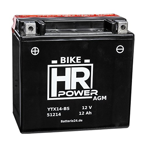 AGM Motorrad Batterie Starterbatterie 12V 12Ah YTX14-BS 51214 wartungsfrei 1