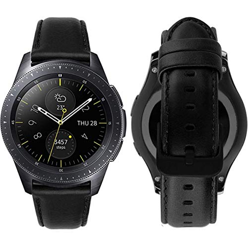 MroTech Cinturino 20 mm Pelle Compatibile per Samsung Galaxy Watch 42mm/ Gear Sport/Gear S2 Classic, Amazfit bip, Garmin Vivoactive 3 / Vívomove HR, TicWatch E, Huawei 2 20 mm Band di Ricambio, Nero