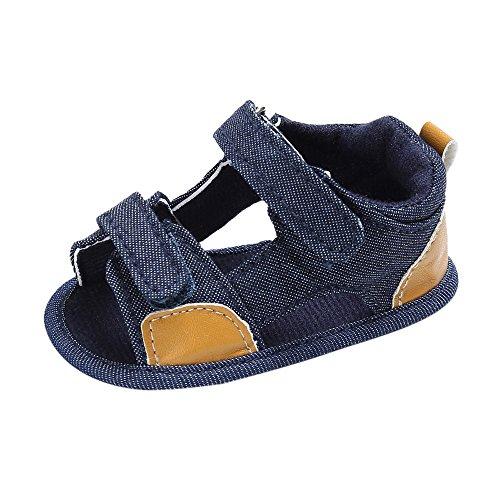 Topgrowth Bambini Tela Culla Morbida della Suola Hook And Loop Scarpe Neonato Sandali (0~6 Mesi, Blu)