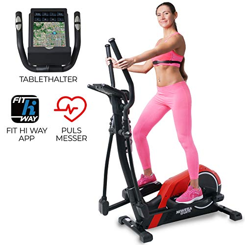 Miweba Sports Crosstrainer MC300 Stepper Ellipsentrainer Heimtrainer - App Steuerung - 21 Kg Schwungmasse - Pulsgurt - Magnetbremse (Rot Schwarz)