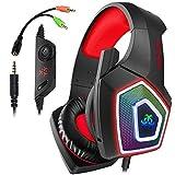 Gaming Headset für PS4 Xbox One PC,Stereo Sound Gaming Kopfhörer mit Mikrofon für Laptop Mac Tablet (Rot)
