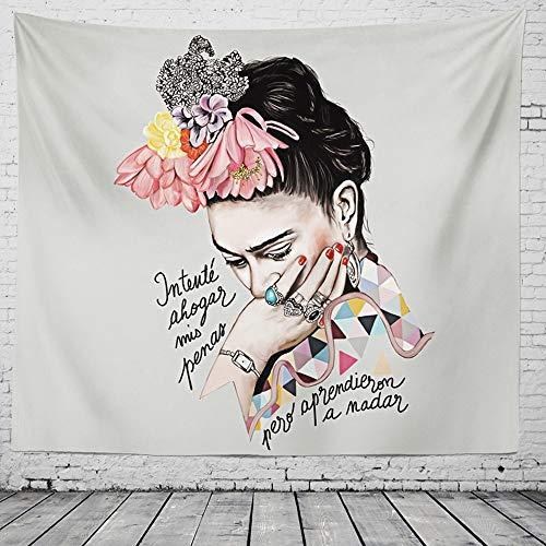 Tecnolygy Tapiz De Pared Grande para Frida Kahlo Woman Decoración Hecha A Mano Floral De Poliéster para Colgar En La Pared, Diferentes Tamaños Y Estilo,White,78.7in*59in