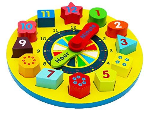 Toys of Wood Oxford Orologio in Legno con Puzzle - Orologio educativo in Legno per Imparare l'ora -...