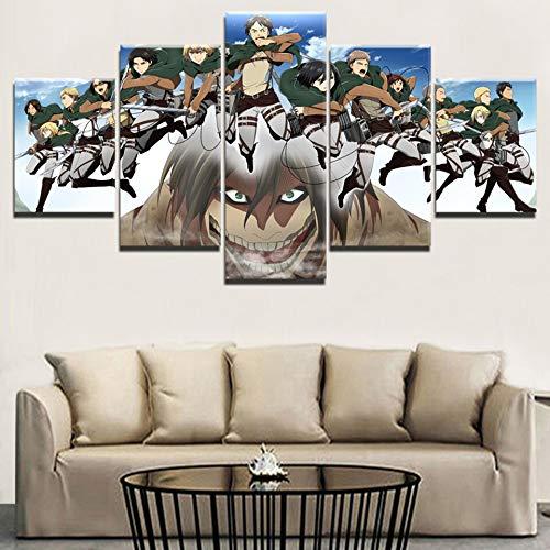 Quadro su Tela Stampe Immagini Immagini per pareti 5 Pezzi Attacco a Titano Decorazione per la casa...