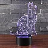 NHsunray Lampada Effetto 3D Luce Notturna Regolabile Con 7 Colori Interruttore Tattile Lampada da Scrivania Della Decorazione Della Casa Del Regalo di Natale (Guardare il gatto)