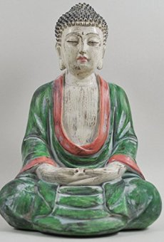 Cross Legged figura de buda grande rojo verde piedra lavar espiritual al aire libre H27cm
