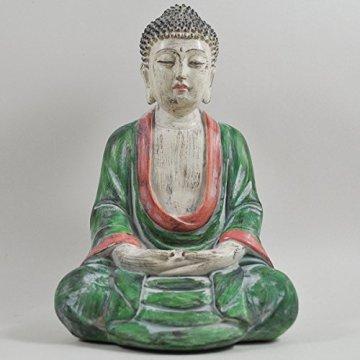 Cross Legged figura de buda grande rojo verde piedra lavar espiritual al aire libre H27cm 3