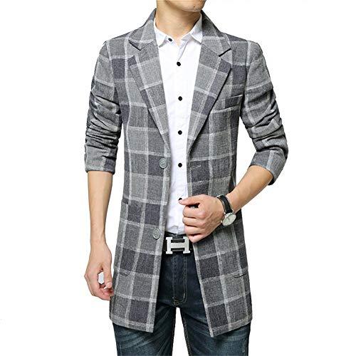 QK-Lannister Uomo Ntel Mens Tweed Plaid Trench Down Long Ragazzo Trun Giacche Uomo Ntel Manica Lunga Risvolto Slim Fit Smart Giacca Formale (Color : Grey, Size : XL)
