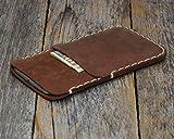 Leder Hülle für iPhone XS Max braune Tasche Etui Cover Case Handyschale Gehäuse Ledertasche Lederetui Lederhülle Handytasche Handysocke Handyhülle Schale Socke auch für 8 Plus, 7 Plus, 6/6s Plus