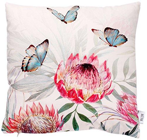 B&H Cojín con Diseño Mariposas con Flores, Algodón, Multicolor, Individual, 45x45x3 cm