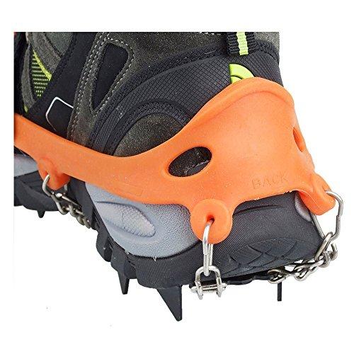 Crampones - SODIAL(R) 2 x zapatos de crampones de 12 dientes de garras antideslizantes cadena de cubierta de acero inoxidable al aire libre de esqui de senderismo en tipos variedad de terreno,naranja 2