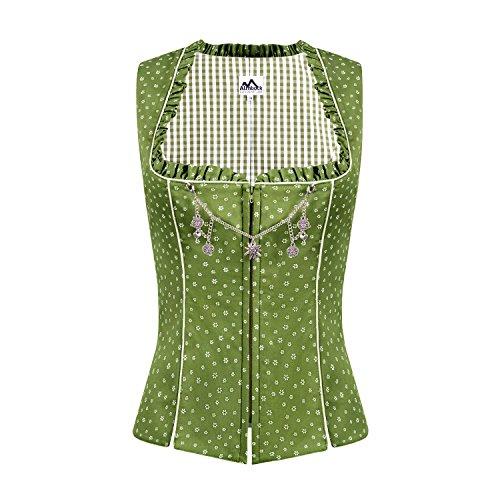 ALMBOCK Trachten Mieder Damen grün | Stretch Trachtenmieder in grün | Tracht Weste für Dirndl