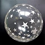 BALLOON JUNCTION balloons STAR PRINT on transparent ( crystal) ,Pack of 25