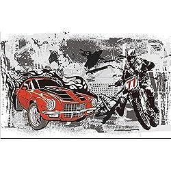 3D haute qualité papier peint non-tissé murale murale moto autocollant Cool graffiti mur de mur de vecteur 3D fond d'écran, W200xH140cm