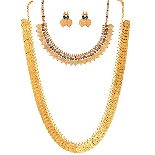 Youbella Jewellery Gold Plated Coin Necklace Set And Red Green Coin Jewellery Set With Earrings For Women
