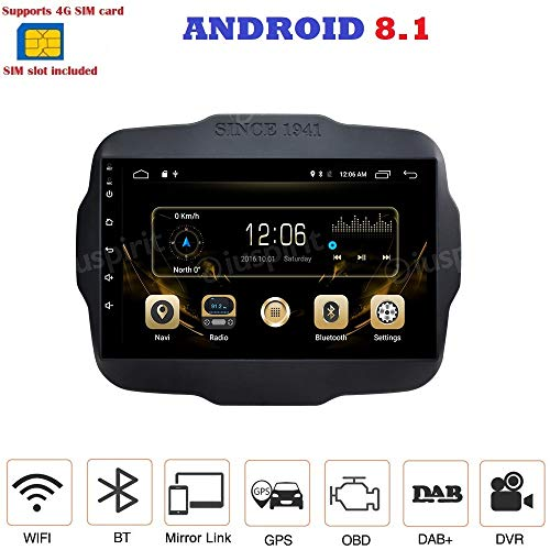 ANDROID 8.1 FULL-TOUCH 9 POLLICI 4G LTE GPS USB DAB+ WI-FI MirrorLink Bluetooth autoradio navigatore Jeep Renegade 2014 2015 2016 2017 2018
