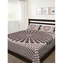 Pinkcity Basket Cotton Printed 1 Double Bedsheet With 2 Pillow Cover Multicover