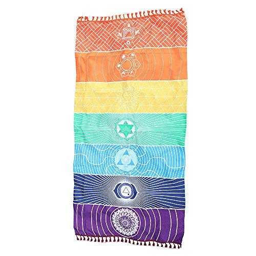 WARMWORD Arco Iris Playa Estera Manta de Mandala Colgar en la Pared Tapestry Stripe Yoga Toalla Playa Tapiz meditación Pareo Decorativo con Estilo Chakras para casa Parque dormidorio(75x150cm)