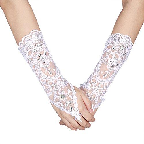 Guanti senza dita in pizzo avorio con strass per accessori da sposa(White)