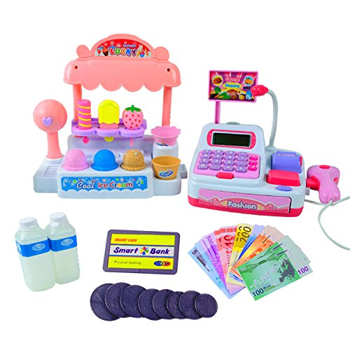 elegantstunning Children Pretend Play Toy Set Ice Cream Shop Cash Register with Realistic Actions and Sounds Gift for Kids
