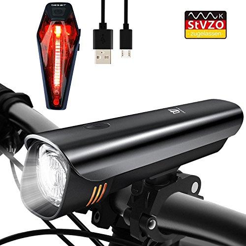 Degbit Sport & Freizeit, Degbit StVZO Zugelassen Wiederaufladbare Fahrradbeleuchtung, Fahrradlampe Set inkl, LED Frontlichter und Rücklicht, 2600mAh Akku USB Aufladbare Fahrradlichter