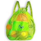 FunFitness MESH BAG (Green L) - Backpack for Football Ball, Basketball, Beach, Pool Toy