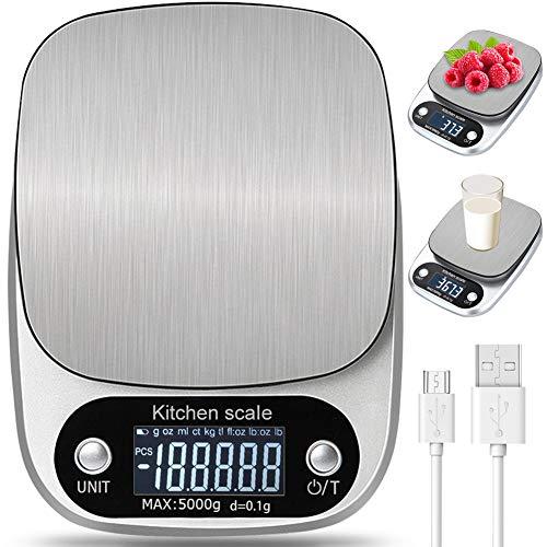Bilancia da Cucina Digitale con Carica USB,5kg/ 11lb-0.1g Bilance Multifunzione Alimentari...