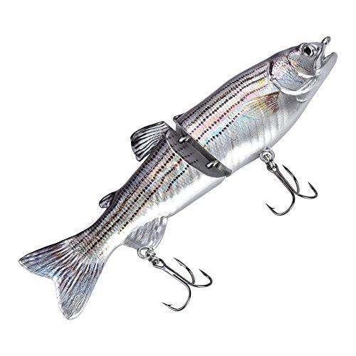 Alomejor Esca Artificiali di Pesce Realistico Multi-snodato Esche Artificiali d'Acqua Dolce Segement Luccio Pesciolino Pesca Esca con Gancio Hard Bass