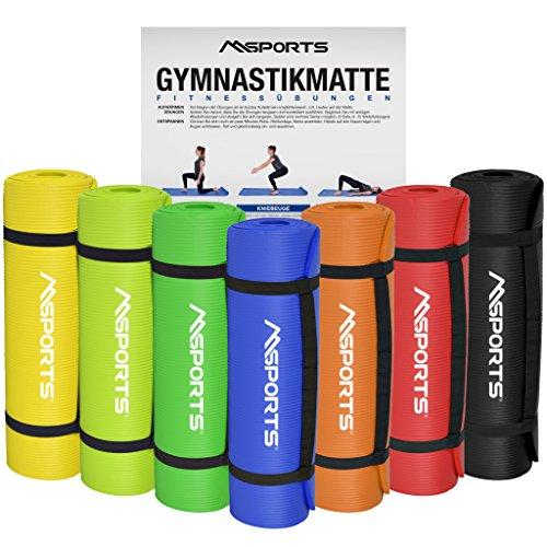 MSPORTS Gymnastikmatte Yoga | inkl. Übungsposter | 190 x 60 x 1,5 cm | Hautfreundlich - Phthalatfrei weich - extra dick | Fitnessmatte (Schwarz)