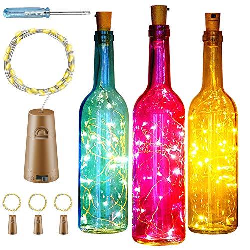 Luci per Bottiglie,4 Pezzi 20LED Luci a catena a LED bottiglie vetro,Luci a corda romantiche per la decorazione della bottiglia DIY,Luci Stringa per Bottiglia di Vino,lucine led a batteria