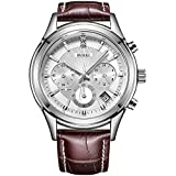 BUREI Chronograph Watch Analog Quartz Wrist Watches with Scratch-resistant Mineral Crystal Lens Leather Strap (White-Brown)