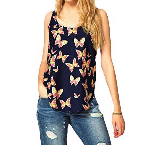 Rcool Camisas Sin Mangas de la Camiseta de la Gasa de la Impresión de la Mariposa de Las Mujeres Chaleco Top (2XL, Mariposa)