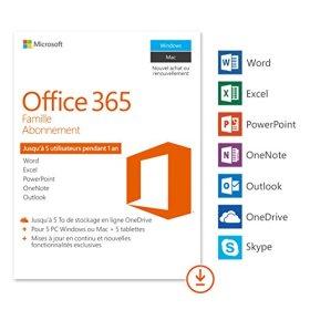 Microsoft Office 365 Famille | 5 PC Windows ou Mac + 5 tablettes | 1 an | Téléchargement