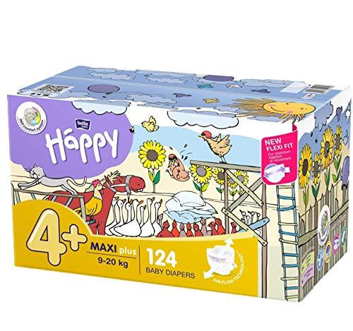 Bella Baby Happy - Pannolini taglia 4 + Maxi Plus, 1 confezione (1 x 124 pezzi)