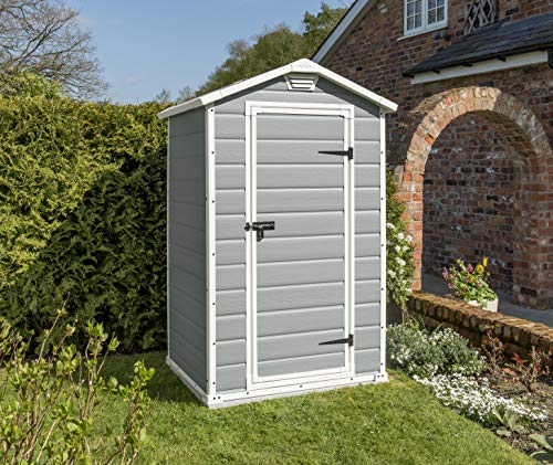The Keter Manor Outdoor Storage Shed is perfect for a small garden and it does not cost too much. Made entirely of plastic, the 4 x 3 ft. unit is designed to fit in small garden spaces without looking out of place. The shed is designed to hold a number of tools and maybe a lawn mower depending on its size.