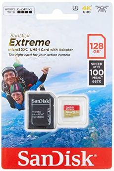 SanDisk Extreme - Tarjeta de Memoria 128GB microSDHC para móvil, Tablets y cámaras MIL + Adaptador SD + Rescue Pro Deluxe, Velocidad Lectura 100 MB/s
