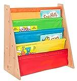 Livivo® libreria per bambini colorata SlingStorage –facile accesso libreria in legno con scaffali con morbido tessuto di nylon per proteggere i libri dei bambini– Perfetta per i piccoli lettori Multi-Colour