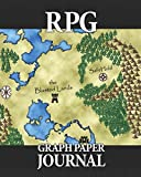 """RPG Graph Paper Journal: Quad ruled pages for role playing gamers: Mapping, sketching, notes, terrain, dungeon plans: Fantasy map cover design, 50 sheets, 1/4"""" and 1/8"""" squares"""