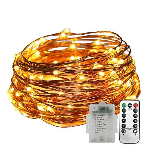 Stringa Luci LED, Neoperlhk Catena Luminosa Filo Rame 5m 50 LED 8 Modalità di Luce Impermeabile...