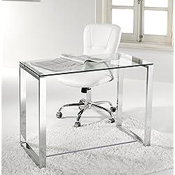 Escritorio, mesa ordenador, estudio, oficina, despacho. Cristal y pata cromada de acero