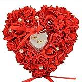 Gemini   Mall® rosa romantico matrimonio anello cuscino anello box cuore favori wedding Ring Pillow con elegante satin flora, Red, taglia unica