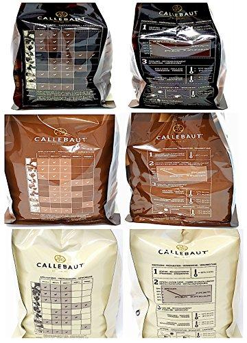 Callebaut 3 x 1kg Bundle - Chocolat de Couverture au Lait, Noir & Blanc Belge - Finest Belgian Chocolate (Callets) Lot de 3 x 1kg 26
