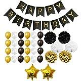 Belle Vous 33-tlg. Gold-, schwarzes und weißes Geburtstags-Deko-SetAlles Gute zum Geburtstag! Lasst die Party beginnen! Unser goldenes und weißes Set ist ideal für jede Geburtstagsparty und passt zu jedem Thema einer Party.Was enthalten ist:-3 x gold...