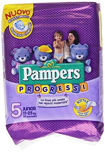 Pampers Progressi Pannolini Junior, Taglia 5 (11-25 kg), 20 Pannolini