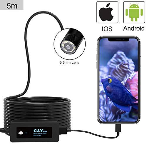 CLY Endoscopio USB, 5.5 mm Half Stiff 5m Ispezione Fotocamera con 6 LED Regolabile 2.0 Megapixel CMOS HD Impermeabile Tubo Baroscopio per Smartphone