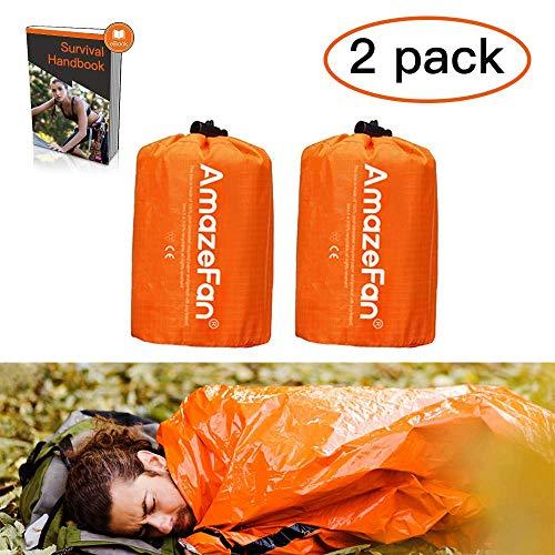 AmazeFan Notfallzelt,Biwaksack Survival Schlafsack warm Outdoor Tube Zelt wasserdicht leicht hitzeabweisend Kälteschutz Ultraleicht Rettungszelt für Camping im Freien und Wandern(Pack Two)