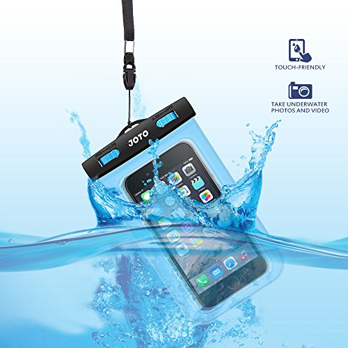 JOTO Universal Waterproof Case, Waterproof Cellphone Dry Bag Case for Apple iPhone 6S 6, 6S Plus, 5S 5, Samsung Galaxy S6, Note 5 4, HTC, Blue