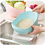 MosQuick Rice Pulses Fruits Vegetable Noodles Pasta Washing Bowl & Strainer Good Quality & Perfect Size for Storing and Straining,(Blue Colour )