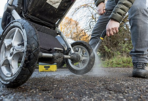 Kärcher OC3 Portable Cleaner - If you are always outdoors traversing the landscape, then the Kärcher OC3 Portable Cleaner is the unit you need. The 2.17kg pressure washer comes in an unmissable shade of yellow and grey that you can spot from far. This comes in handy for campers, cyclists, hikers or those who work in muddy areas. Using 6V lithium ion batteries will give you a running time of 15 minutes before requiring recharge.